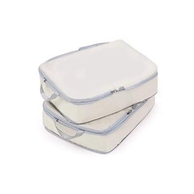Bostar 2点セット 圧縮バッグ 旅行用収納バッグ 衣類圧縮バッグ 可変スペース ダブルファスナー圧縮 超軽量 大容量 撥水加工 トラベルポーチ