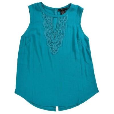 レディース 衣類 トップス Grace Elements Women's Tank Top With Crochet in Rio Turquoise Size XX-Large タンクトップ