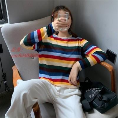 トップス チュニック セーター カットソー 長袖 虹 カジュアル ニット 日焼け止め ニットセーター ゆったり 人気 レディース プルオーバー