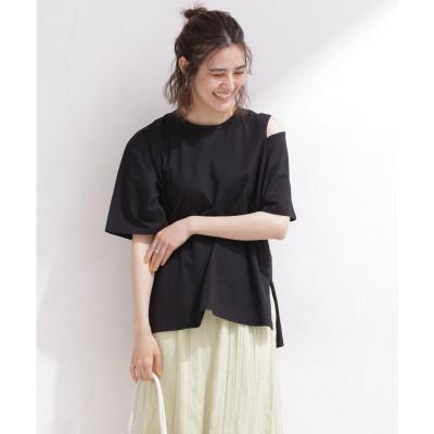 ショルダースリットTシャツ 半袖 ブラック