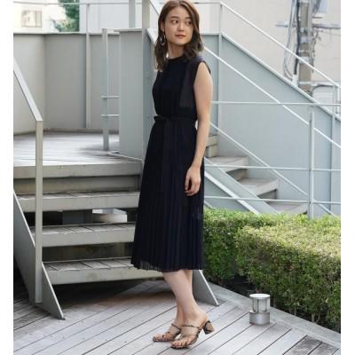 【トゥモローランド/TOMORROWLAND】 ランダムプリーツ フレンチスリーブワンピース