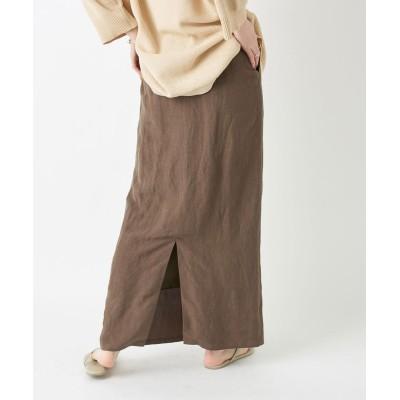 【スタイルアップ効果】レーヨンリネンストレートスカート