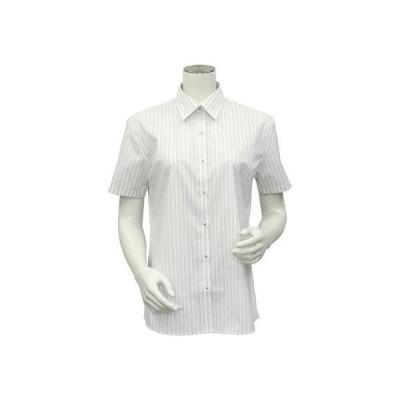 トーキョーシャツ TOKYO SHIRTS 形態安定ノーアイロン レディース半袖シャツ レギュラー衿 COOLMAX(R) (ライトグレー)