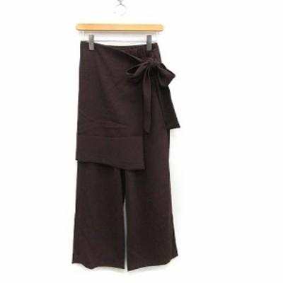 【中古】未使用品 クラネ CLANE パンツ イージー ストレート スカート ミニ 2WAY WRAP PANTS 1 ブラウン レディース