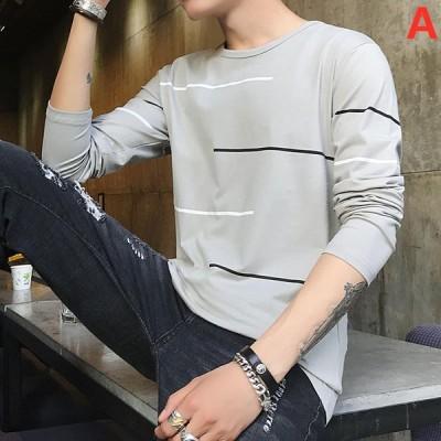 メンズTシャツ Tシャツ 長袖Tシャツ オシャレ カットソー カジュアルTシャツ ゆったり 通学 お出かけ 秋冬 トップス 大きいサイズ 着心地良い コットン100%