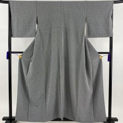 小紋 秀品 格子 黒 袷 身丈156cm 裄丈66.5cm M 正絹 中古