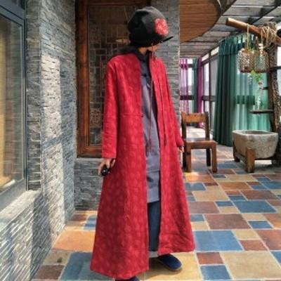 2018春新しい無地トレンチジャカードフルスリーブヴィンテージネックシングルボタンライン-ロング女性のコート