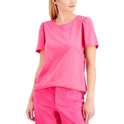 チャータークラブ Charter Club レディース Tシャツ トップス Petite Cotton T-Shirt Pink Lightening
