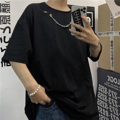 トレンド ラウンドネック チェーン半袖Tシャツ メンズ 韓国 トップス 3カラー アクセサリー付 オーバーサイズ ビッグシルエット