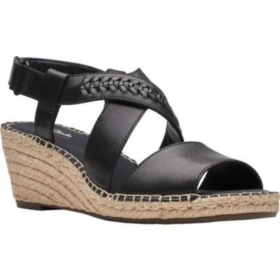 クラークス サンダル シューズ レディース Petrina Bay Wedge Sandal (Women's) Black Full Grain Leather