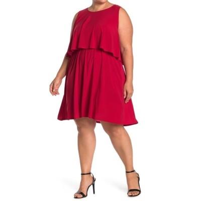 タッシュプラスソフィー レディース ワンピース トップス Asymmetirical Hem Ruffle Overlay Dress RED