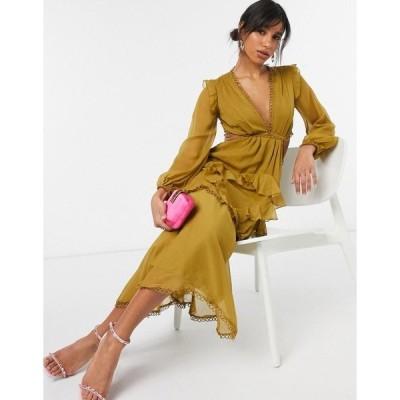 エイソス レディース ワンピース トップス ASOS DESIGN mini dress with long sleeves and circle trim Mustard