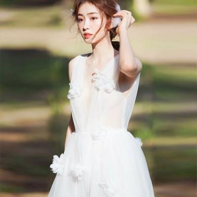 ウェディングドレス 二次会 白 花嫁 Aライン 海外挙式 大きいサイズ パーティードレス 披露宴 ブライダル シンプル 結婚式 ロングドレス 演奏会