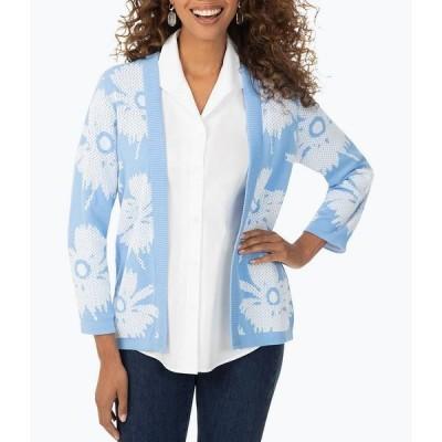 フォックスクラフト レディース ジャケット&ブルゾン アウター Bracelet Sleeve Floral Stitch Reversible Cardigan Cool Blue