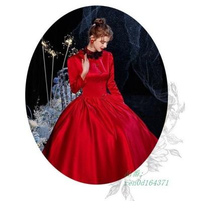 プリンセス ロココ調 ゴシック 中世貴族風 お姫様ドレス バケーションドレス 仮面舞踏会 レッド ドレス パーティーコスチューム 女性用 コスチューム