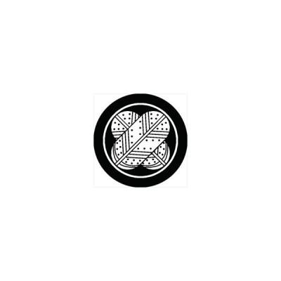 家紋シール 糸輪に斑入り違い鷹の羽紋 直径4cm 丸型 白紋 4枚セット KS44M-1776W
