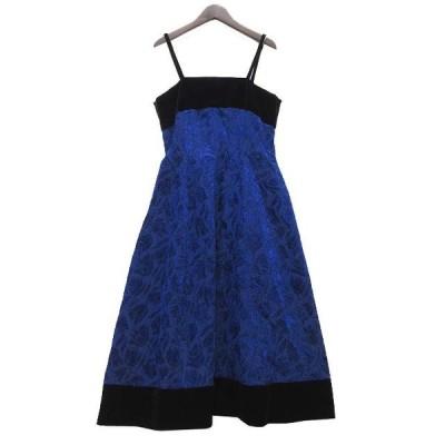 【中古】SOIR MARIEE 東京ソワール ドレス ワンピース ベロア 花柄 フレア 青 黒 ブルー ブラック 9 レディース【ベクトル 古着】