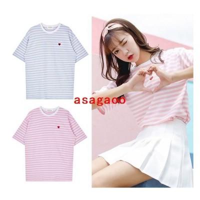 韓国ファッション半袖Tシャツボーダーレディーストップスハートオルチャン原宿系夏