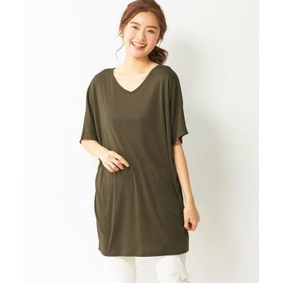 【大きいサイズ】 吸汗速乾UVカット5分袖ゆったりシルエットカットソーチュニック plus size tops,