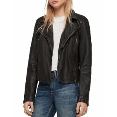 オールセインツ レディース ジャケット・ブルゾン アウター Cargo Quilted Leather Biker Jacket Black/Gray
