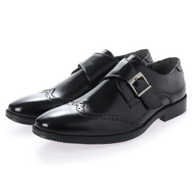 ジーノ Zeeno ビジネスシューズ メンズ 幅広 3EEE 防滑 ウィングチップ ベルト モンクストラップ 紳士靴 大きいサイズ対応 キングサイズ (ブラック)