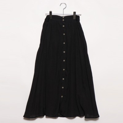 スタイルブロック STYLEBLOCK レーヨンスラブガーゼフロント釦スカート (ブラック)