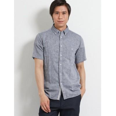 【タカキュー】 フレンチリネン混パナマメッシュ ボタンダウン半袖シャツ メンズ ネイビー L TAKA-Q