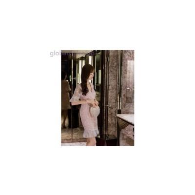 ワンピース ドレス ひざ丈 5分袖 フリル パーティー 発表会 SML タイト Vネック レース 刺繍 ピンク ホワイト 白