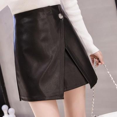 レザーミニスカート インナーパンツ付き レディース フェイクレザー ミニスカ タイトスカート ラップ風スカート