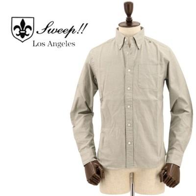 スウィープ ロサンゼルス Sweep!! LosAngeles  メンズ シャンブレー ボタンダウンシャツ CHAMBREY KHAKI(カーキ)返品交換不可