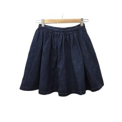 【中古】スナイデル snidel スカート ギャザー フレア ミニ デニム 0 紺 ネイビー レディース 【ベクトル 古着】