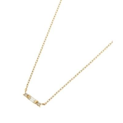 COCOSHNIK / ココシュニック K18ダイヤモンド バゲットカット×サイドメレ ネックレス