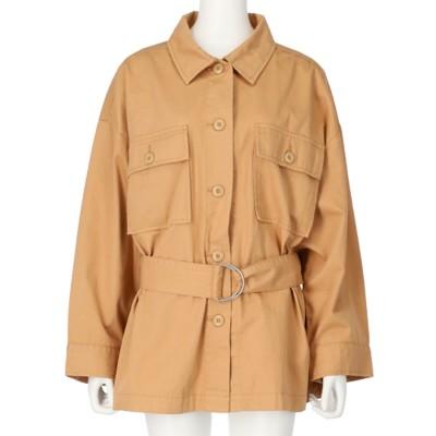 ANAP ベルト付ビッグポケットツイルシャツジャケット(ベージュ)