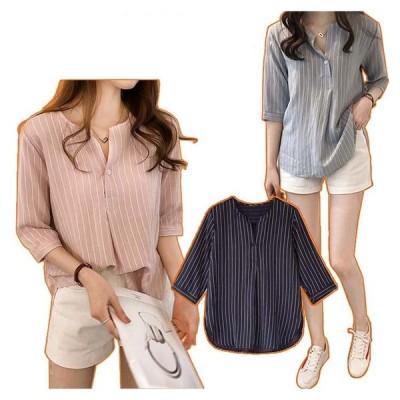 ストライプシャツ レデースシャツ 七分袖 ブラウス トップス ゆったり 体型カバー カジュアル  送料無料