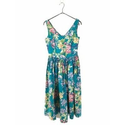 レディース 古着 英国製 laura ashley ローラアシュレイ 花柄 ロング丈 コットン ワンピース ドレス 10 L位 古着