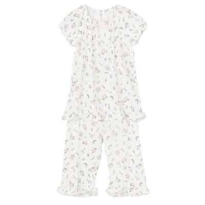 キッズ トドラー女児 ユニコーン柄接触冷感半袖パジャマ ホワイト 130cm