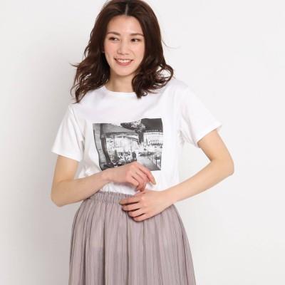 クードシャンス COUP DE CHANCE 【洗える】カフェエフェクトプリントTシャツ (ホワイト)
