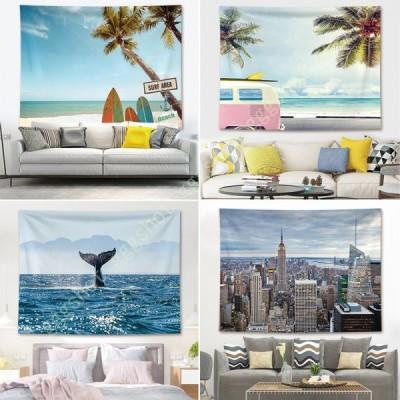 ビーチ風景 タペストリー 青空と白雲 海と椰子の木 おしゃれ壁掛け インテリア モダン 南国風情 ファブリック装飾品 多機能 壁 窓 個性プレゼント 布製