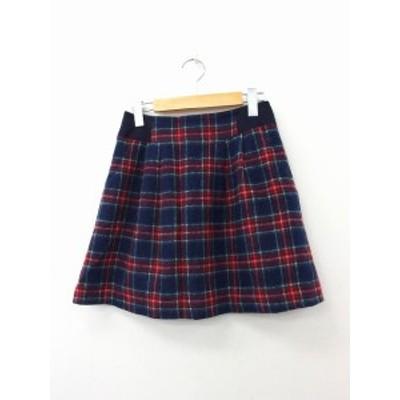 【中古】シュテフィス stefis スカート 台形スカート ギャザー ミニ ウール チェック 38 レッド 赤 /KT26 レディース