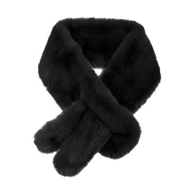 uxcell Allegra K フェイクファー ティペット マフラー ヌード ネックウォーマー 首巻き 防寒 レディース ブラック 85x10cm