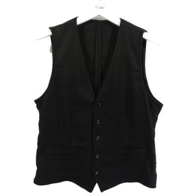 【11月9日値下】LARDINI ウールリネンジレ ベスト JJ77017 ブラック サイズ:48 (南船場店)