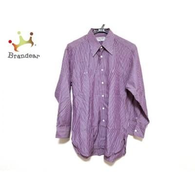 ダンヒル 長袖シャツ サイズ29 メンズ 美品 ネイビー×レッド×白 ストライプ/ネーム刺繍 新着 20200814