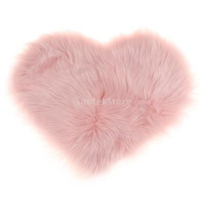 ふわふわ ハート形 エリアラグ 毛むくじゃら フロア カーペット マット ソフト クッション パッド - ピンク