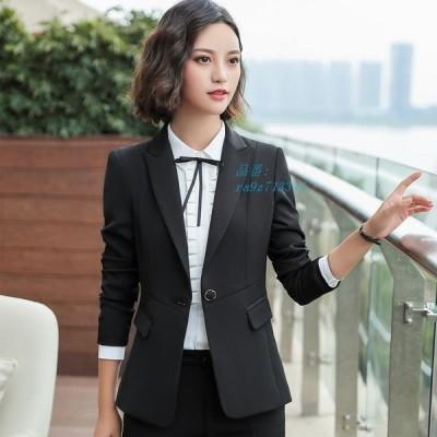 通販 フォーマル スーツ テーラードジャケット オフィス スーツ カジュアル レディース 通勤長袖 2点セット ビジネススーツ コート ズボン