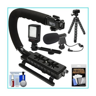 Vidpro VB-12 Stabilizer Hand Grip for DSLR Cameras, Video Camcorders & Action Cameras with Microphone + Flex Tripod + Kit【並行輸入品