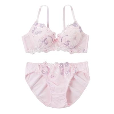 綿混 マルチカラーフラワー刺しゅう ブラジャー・ショーツセット(F80/L) (ブラジャー&ショーツセット)Bras & Panties