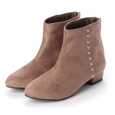 マシュガール masyugirl 【3E/幅広ゆったり・大きいサイズの靴】 ゴールドスタッズ付きアーモンドトゥブーツ (グレージュ) SOROTTO