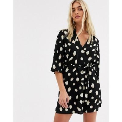 アックスパリ レディース ワンピース トップス AX Paris v neck shirt dress in arty dot