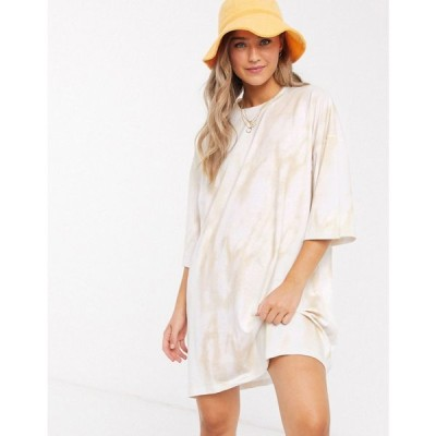 エイソス ASOS DESIGN レディース ワンピース Tシャツワンピース ワンピース・ドレス oversized t-shirt dress in cream tie dye