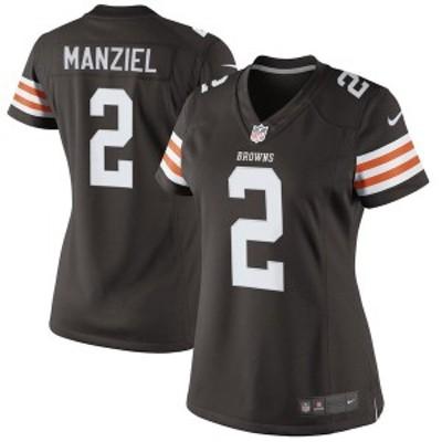 ナイキ レディース Tシャツ トップス Johnny Manziel Cleveland Browns Historic Logo Nike Women's Game Jersey Brown
